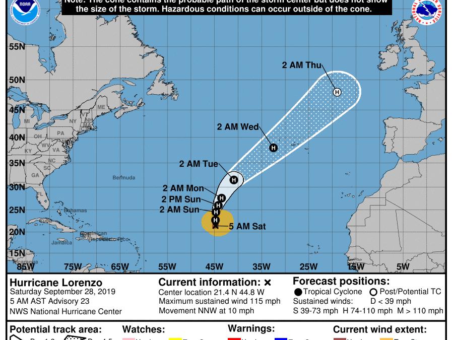 L'Uragano Lorenzo mette nel mirino l'Europa