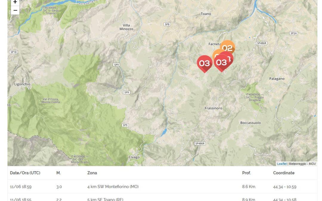Piccolo sciame sismico in Appennino