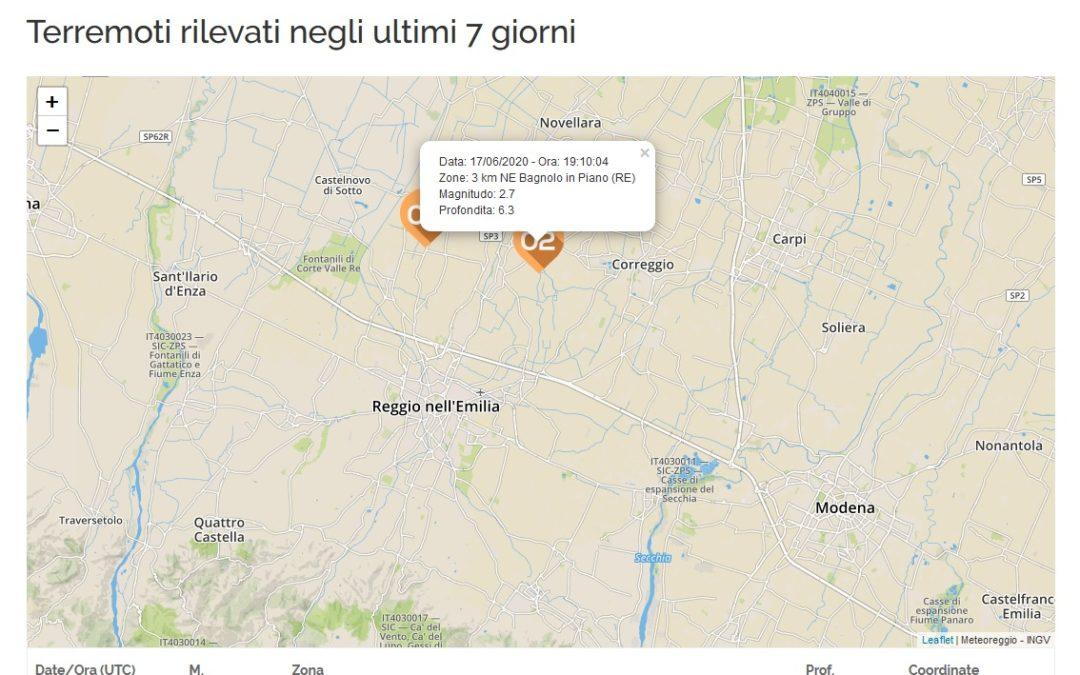 Piccola scossa di terremoto tra Bagnolo e Correggio